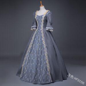 Women Maxi Dress Retro Medieval Victorian Renaissance Ball Gown Cosplay Costume