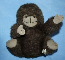 "Russ Berrie GONZO GORILLA 9""  Monkey Furry Fuzzy Brown Plush Stuffed Soft Toy"
