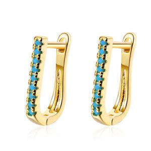 Ladies Solid 925 Sterling Silver Blue Zircon Oval Clip On Hoop Earrings Jewelry