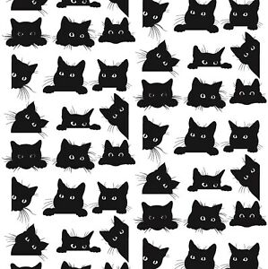 Black Cute Cats Gift Wrap Sheet,Cute Cats Wrapping Paper