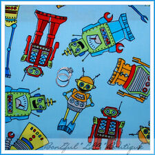 BonEful Fabric Cotton Quilt Blue Red VTG Robot Computer Space Baby Boy Toy SCRAP