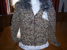 Damenjacke handgestrickt Größe 36/38 ocker natur schwarz mit Reißverschluß