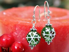 Green & White Snowflake Christmas Earrings- painted glass, sterling silver hooks
