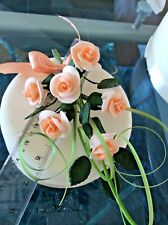 A WEDDING CAKE 6 SUGAR ROSES SPRAY IN  PEACH MOST COLOURS AVAILABLE  D A73