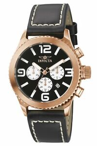 Invicta Men's 1429 II Collection Chronograph Black Dial Leather Watch
