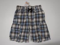 Gymboree Boys Size 3T Blue White & Brown Plaid Elastic Waist Shorts New