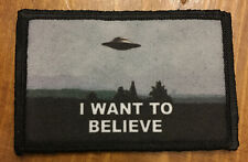 X Files I Want To Believe Morale Patch Tactical Military Army Badge Hook Flag