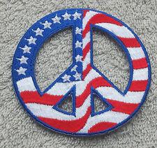 "USA PEACE SIGN PATCH 3"" Cloth Badge/Emblem American Flag Biker Jacket Iron Sew"