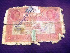 Austria Hungary Ket korona Zwei 2 kronen banknote stamped RRR banknote No17 1917
