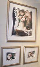 Pink Lemonage Suite by Arleta Pech s/n AP 3 prints framed roses & lace- flowers