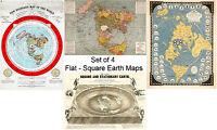 Set of 4 Flat Square Earth Large Wall Maps Orlando Ferguson Alexander Gleason