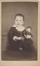 CDV PORTRAIT OF ADROABLE CHUBBY GIRL W/ BABY DOLL - NEW HOLLAND, PA