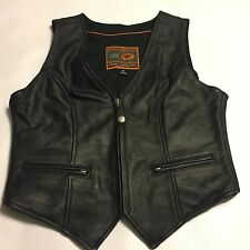 First Classics Black Motorcycle Vest Mesh Lined Size Womens Medium Chest 36""
