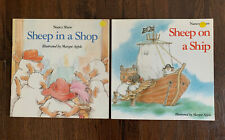 Sheep in a Shop Signed by Nancy Shaw and Margot Apple, Sheep On A Ship, Lot Of 2