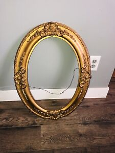ANTIQUE BAROQUE GESSO ON WOOD OVAL PICTURE FRAME - bright beautiful gold