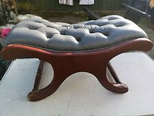 Vintage leather Chesterfield Blue Cross frame stool