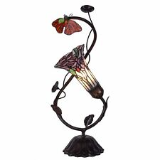 Bieye 8-inches Rose and Butterfly Tiffany Style Stained Glass Accent Table Lamp