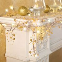 10 Foot Lighted Gold Berry-Beaded Cordless Holiday Christmas Garland