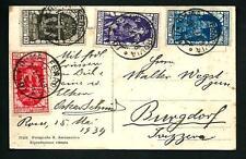 Italia Regno - 4 valori diversi Decennale Fiume su cartolina - 1934 per estero