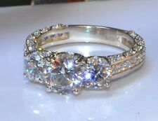 1.84ct Round Diamond Wedding Three Stone Engagement Ring 14ct White Gold