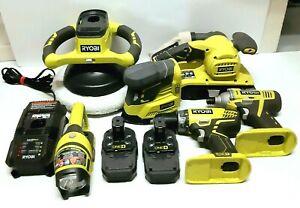 Lot of 9 Ryobi 18v Power Tools Batteries Impact Drill Sander, Buffer, Flashlight