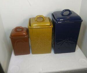 Set of 3 Lillian Vernon vintage leaf imprinted pottery canisters