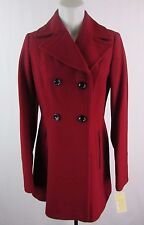 Michael Kors Women's S Red Wool Blend Double Breasted Coat LK1007