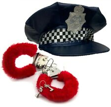 Police Officer Fancy Dress Costumes Bright Blue Hat Cop & Red Fluffy Hand Cuffs