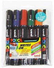 POSCA PC-5M Art Markers Glass, Fabric, Porcelain Marker - Assorted Wallet of 6