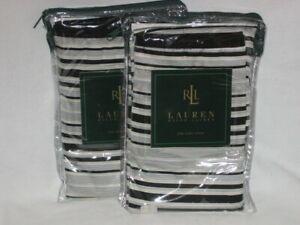2 Ralph Lauren WILTSHIRE Black White Stripe Euro Shams NIP