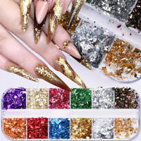 12 Grids Nail Art Stickers Colorful Irregular Foils Paper DIY Gold 3D Flakes