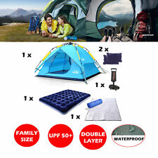 4 Person Pop Up Tent Sun Shade Shelter Outdoor Camping Beach with Air Bed Mat