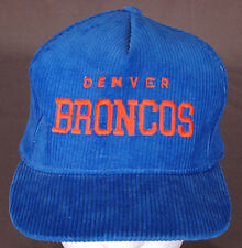 Vtg Denver Broncos Hat/Cap-Corduroy-Blue-Embroidered-SnapBack-NFL-Football-Rare.