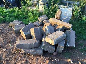 Reclaimed sandstone blocks.