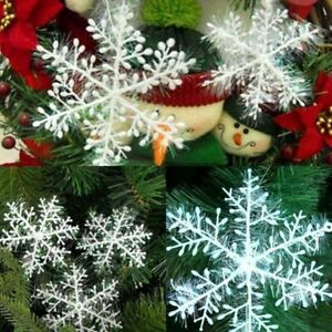 30Pcs Christmas White Snowflakes Xmas Tree Decorations Ornaments 8.5CM UK