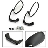 Motorcycle L-Bar Cafe Racer Round Rear View Mirrors Pair 8mm 10mm Universal BK,