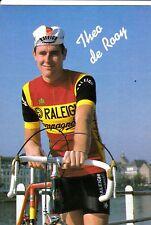 CYCLISME carte  cycliste THEO DE ROOY équipe TI RALEIGH 1982