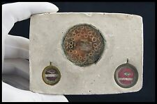 † 19TH ST FRANCES of ROME + ST PETER Ap + ST FELIX II RELIQUARY 3 RELICS ITALY †