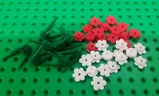 *NEW* Lego Red & White Flowers Green Stems for   Garden Wild Forest Pack
