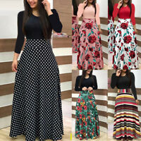 Womens Long Sleeve Floral Boho Long Maxi Dress Loose Ladies Casual Dress P