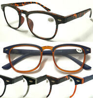 L867 Stylish Reading Glasses/Matte Brow Frame/Spring Hinges/Vintage Retro Design