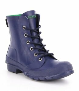 Lauren Ralph Lauren Rain Boots Size 6 M Women Ankle Mikenna Lace Up Rubber Blue
