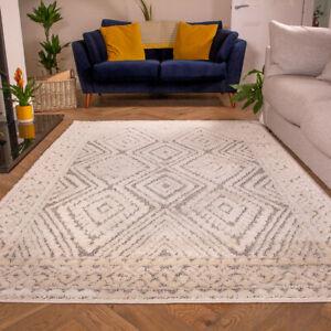 Grey & Cream Living Room Rugs | Traditional Medallion Scandi Style Runner Rugs