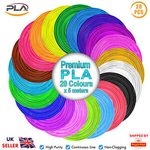 ACENIX® 3D Pen Filament Refills PLA 1.75mm 20 Colors 5M Each PLA Filament Set