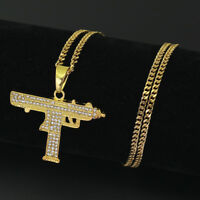 Fashion Men's Machine Gun Crystal Stainless Steel Pendant Chain Hip Hop Necklace