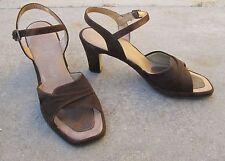 Vintage 1970s Penaljo Brown Suede Open Toe Sling Back Heels 7.5 N