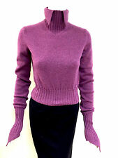 NWT CHANEL Orchid-Fuchsia Cashmere Turtleneck Sweater w/Pointed Collar&Cuffs 40