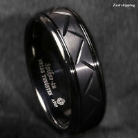 8mm Dome Black Warrior Brushed Center Tungsten Ring Bridal Band ATOP Men Jewelry