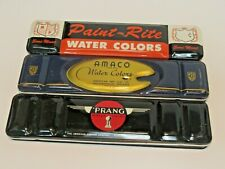 LOT OF 3 WATERCOLOR PAINT TINS PAINT RITE, AMACO, PRANG BRANDS USED CONDITION