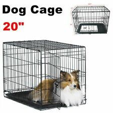 """20"""" Small Pet Kennel Cat Dog Crate Animal Playpen Wire Metal Cage Tray Black Us"""